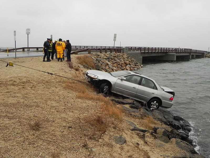 The car was safely pulled up the embankment Friday morning.