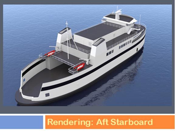 The SSA's newest ferry is designed to carry freight trucks and passengers.