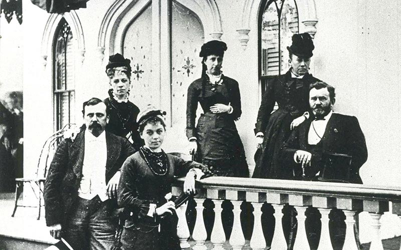 President Ulysses S Grant Seated Right With His Wife Standing Behind Him At Left Is General Babcock And Niece In Center