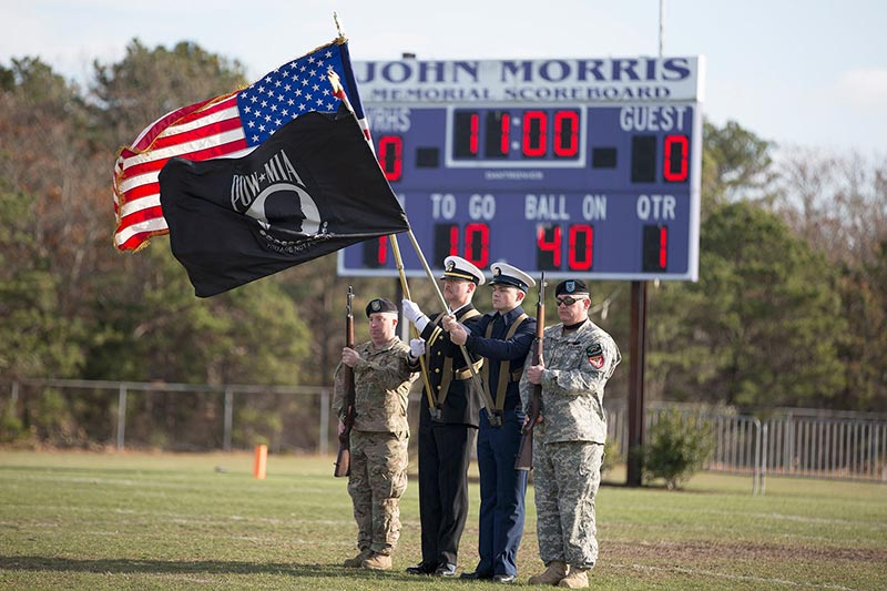 Veterans were honored before the game and during halftime.