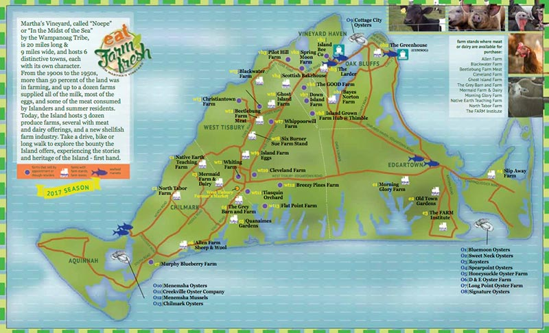 See below for an interactive Farm Map. -Illustration and Print Map by Max King, SlowFood MV, Farm.Field.Sea, and made possible by the Martha's Vineyard Chamber of Commerce, Dukes County, Island Grown Initiative, The MV Agricultural Society, and the MVTimes.