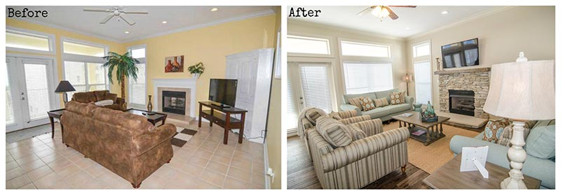 Katama bungalow gets a much needed update on the inside for Living room renovation before and after