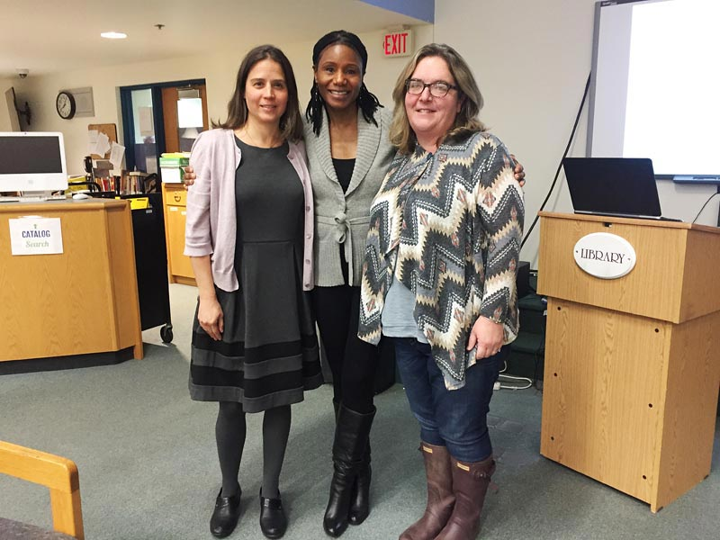 The three women who made the forum on teen substance abuse possible, from  left: MVRHS Principal Sara Dingledy, recovery coach Thulani DeMarsay, ...